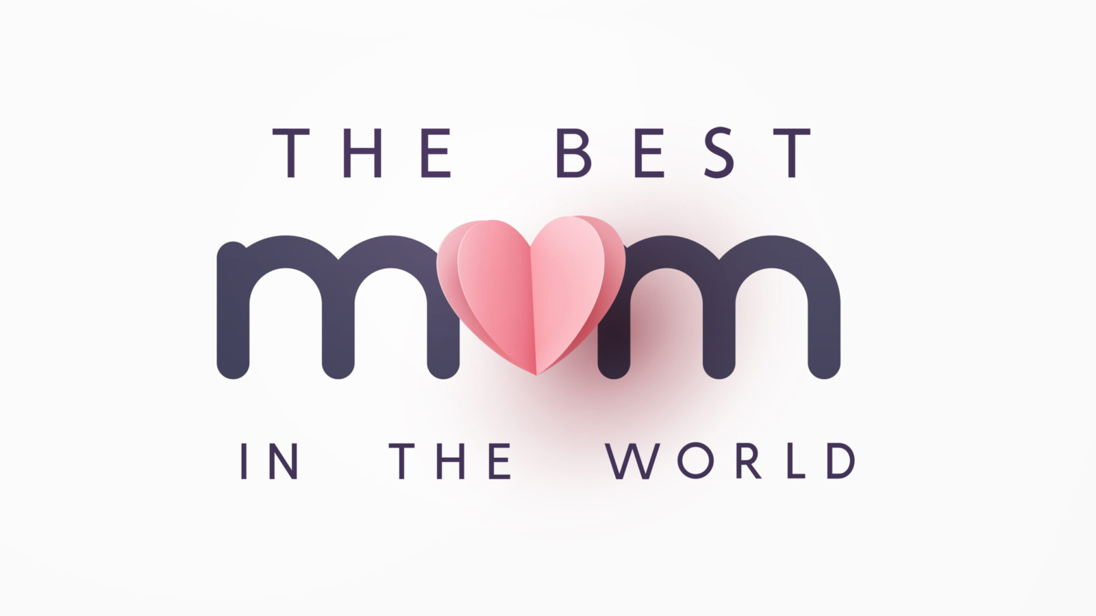 Mother's day greeting card. Vector pink love symbol in shape of heart and the best Mom text on gray background. .